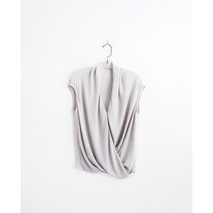 Helmut Lang Light Grey Cap Shroud Twist Top est S